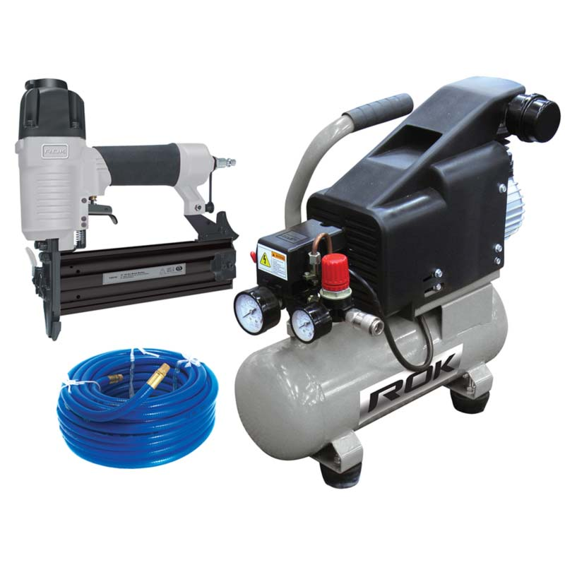 ROK air compressor & brad nailer combo kit